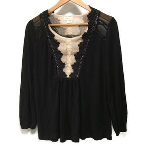 MEADOW RUE black and cream lace long sleeve top S